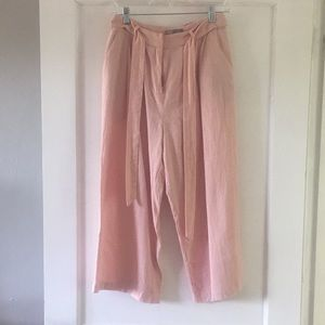 Pink linen flowy, cropped pants